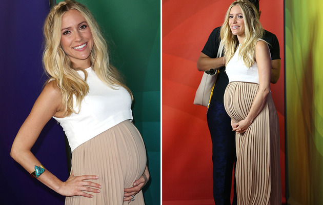 Kristin Cavallari Flaunts Baby Bump in Chic Two-Toned Maxi Dress!