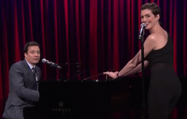 Anne Hathaway & Jimmy Fallon Perform Broadway Versions of Hip-Hop Songs!