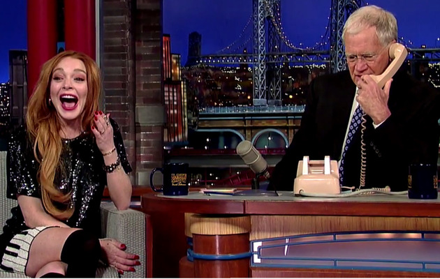Lindsay Lohan & David Letterman Prank Call Oprah -- Watch the Funny Clip!