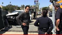 CSI's Jose Zuniga Car Accident -- SUV Destroyed After Crashing Through Bus Stop