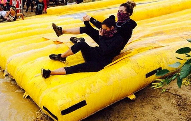 Kim and Khloe Kardashian Do the Mud Run -- See the Photos!