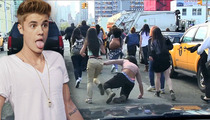 Justin Bieber -- Running of the Beliebers Ends with Ugly Spill