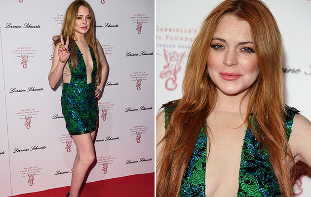Lindsay Lohan Hits The Red Carpet Bra-less for Gabrielle's Gala!