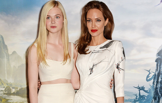 "Angelina Jolie & Elle Fanning Wow in White at ""Maleficent"" Event in London!"
