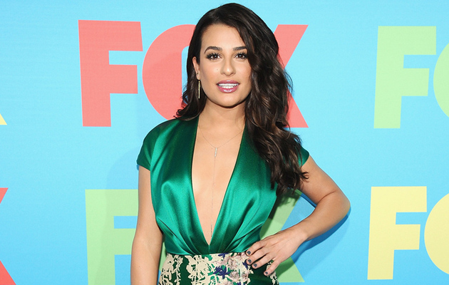 Lea Michele Flaunts Major Cleavage at FOX FanFront Event!