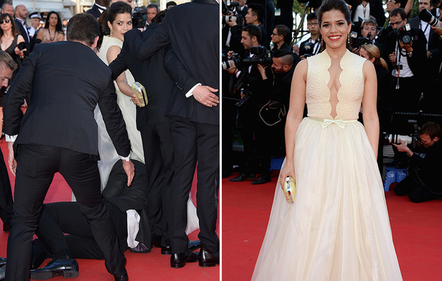 America Ferrera Grabbed by Red Carpet Crasher at Cannes!