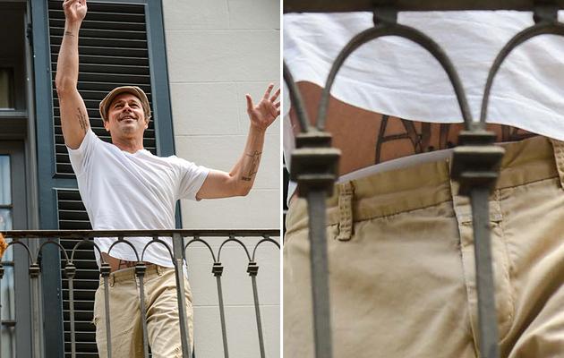 Brad Pitt Reveals HUGE Stomach Tattoo -- What Is It?!