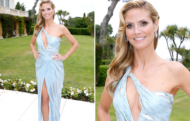 Heidi Klum Flaunts Major Cleavage at 2014 amfAR Gala in Cannes!