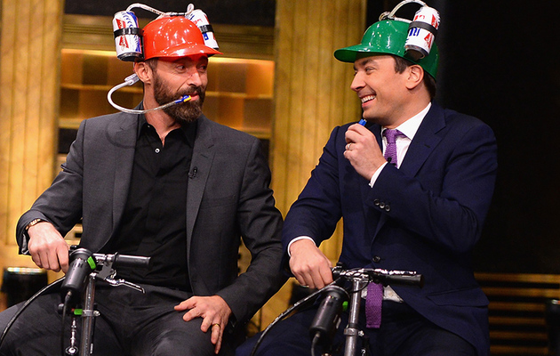 Watch Hugh Jackman and Jimmy Fallon Have a Cooler Scooter Race