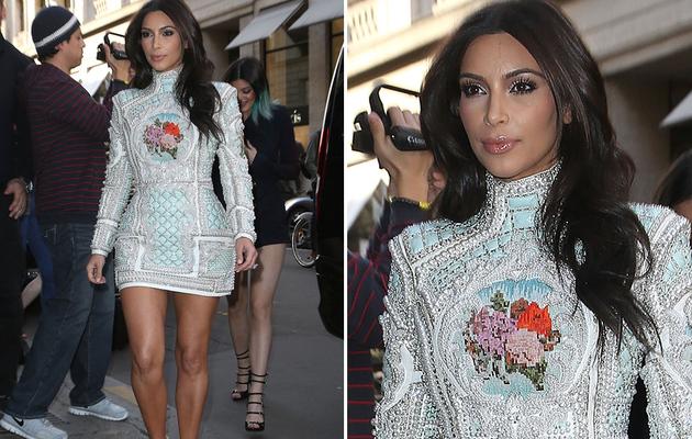 "Kim Kardashian Dresses in Elaborate Beaded Dress For ""Girls Night""!"