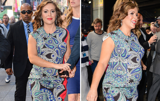 Alyssa Milano Shows Off Growing Baby Bump in New York!