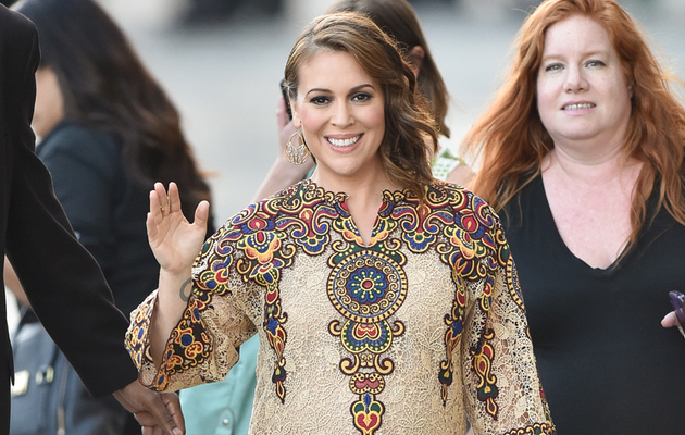 Alyssa Milano Flaunts Baby Bump in Chic Embroidered Mini Dress