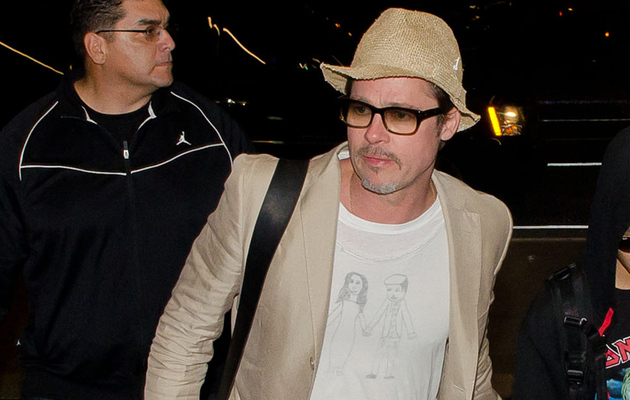 Brad Pitt Steps Out in Homemade Brangelina T-Shirt -- See the Cute Pic!