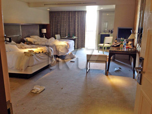 Brittny Gastineau and Retna's Hotel Room -- The Bloody Aftermath