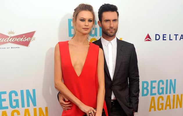 "Adam Levine and Behati Prinsloo Hit Red Carpet Together at ""Begin Again"" Premiere"