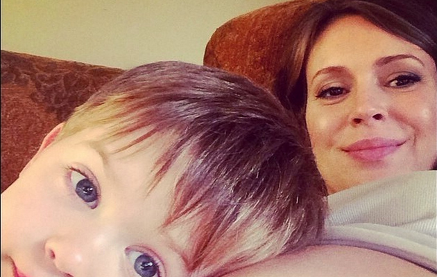 Alyssa Milano Flaunts Bare Baby Bump With 2-Year-Old Son Milo