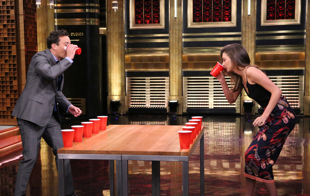 Watch Miranda Kerr and Jimmy Fallon Play Flip Cup!
