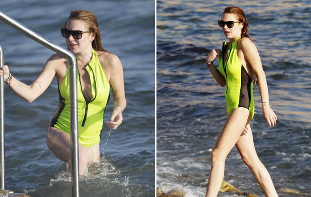 Lindsay Lohan Flaunts Major Cleavage in Ibiza -- See Her Beach Bod!