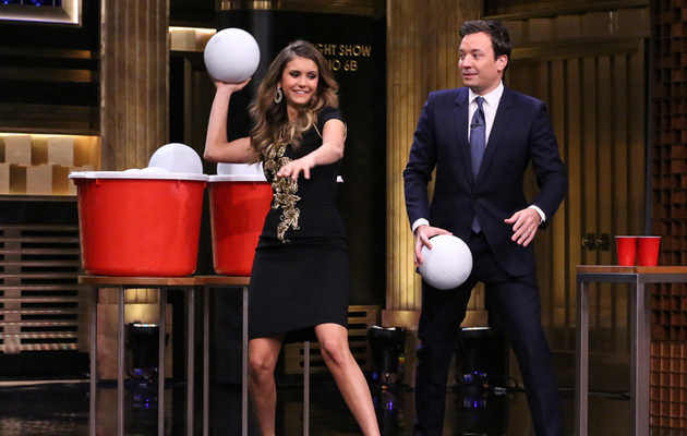 Watch Nina Dobrev Play Giant Beer Pong With Jimmy Fallon!