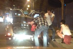 Adam Levine's Mercedes Breaks Down With Behati Prinsloo