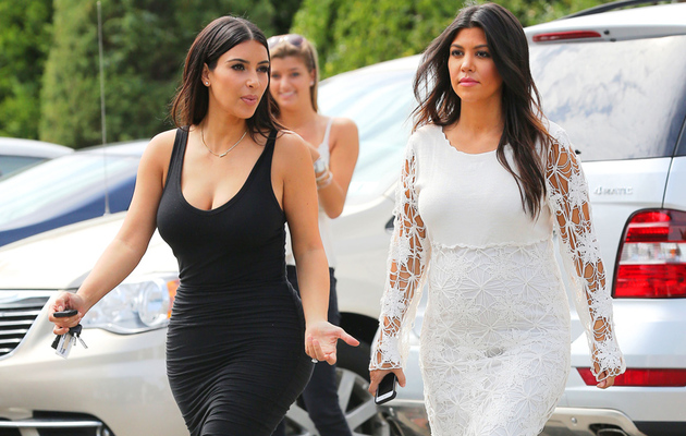 Kim & Kourtney Kardashian Rock Skin-Tight Dresses in NY