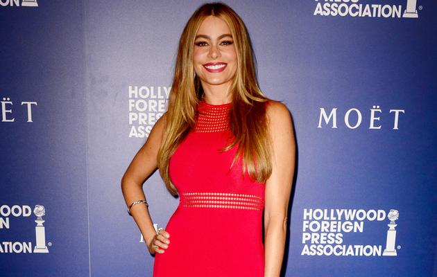 Sofia Vergara Looks Red Hot at HFPA Grants Banquet