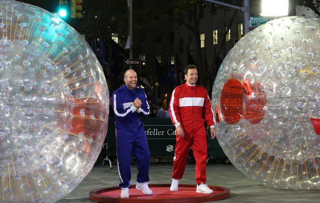 Jason Statham and Jimmy Fallon Race in Giant Hamster Balls