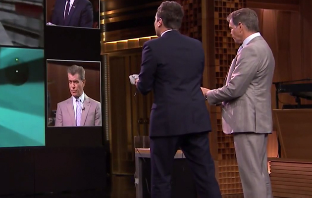 "Jimmy Fallon Challenges Pierce Brosnan to ""Goldeneye"" on Nintendo 64"