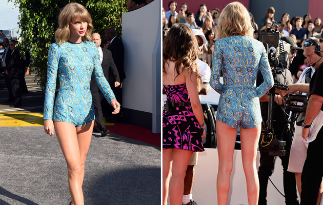 Taylor Swift Flaunts Long Legs in Revealing Jumper At VMAs