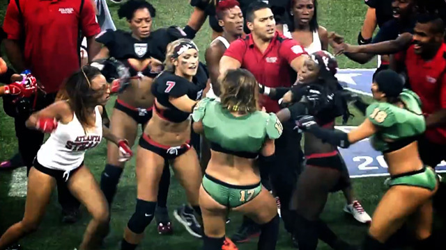 082614 lfl fight primary 1200x630 lingerie football league bench clearing brawl linebacker,Womens Underwear Football League Videos
