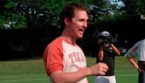 Matthew McConaughey -- PUMPS UP TEXAS FOOTBALL TEAM ... 'Wolf of Wall Street' Chest Thump