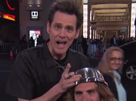 Jim Carrey Gave Stranger a Bowl Haircut, Surprised Jimmy Kimmel With a Pony