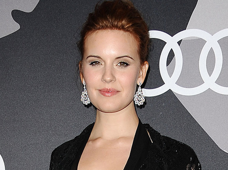 Maggie Grace Debuts Fiery Red 'Do, Shows Serious Skin in Sheer Dress