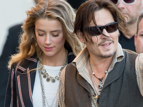 "Johnny Depp Stops By ""Jimmy Kimmel Live"" With Amber Heard Amid Split Rumors"