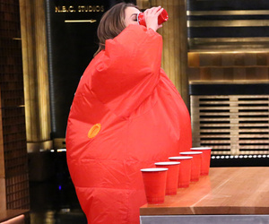 See Keri Russell and Jimmy Fallon Play Hilarious Game of Inflatable Flip Cup!