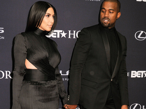Kim Kardashian & Kanye West Sport All Black to BET Honors