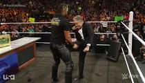 Jon Stewart -- Kicks Seth Rollins In the Balls!