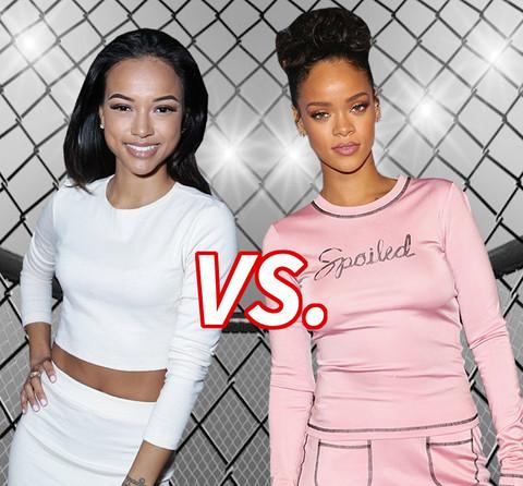 Battle of the Exes! Karrueche Tran (26) vs. Rihanna (27)