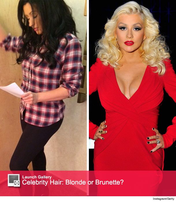 christina aguilera shows of new dark brown do like the
