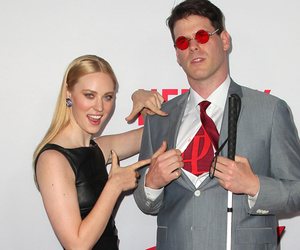 "Deborah Ann Woll's Blind Boyfriend Attends ""Daredevil"" Premiere In Superhero's…"
