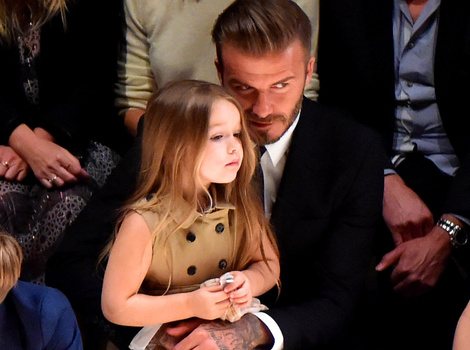 The Beckhams Bring Their Adorable Brood to Burberry Show -- Harper Is So Big Now!
