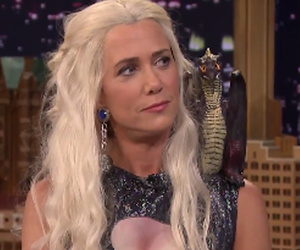 "Kristen Wiig Shows Her Sexy Side in Violet Grey, Shows Up to Fallon as Dany from ""Game of…"