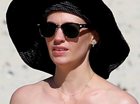 January Jones Hits the Beach In Hawaii -- Check Out Her Interesting Ensemble