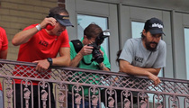 Drew Brees & Matt McConaughey -- TOSSIN' BEADS ... In French Quarter