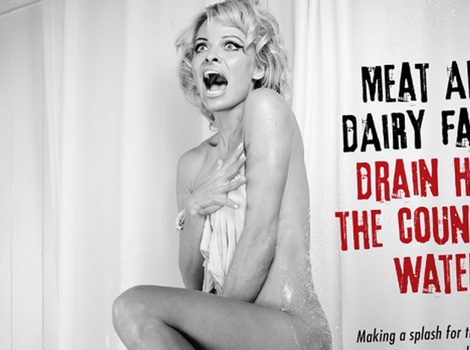 "Pamela Anderson Goes Nude, Reenacts ""Psycho"" Shower Scene for PETA"