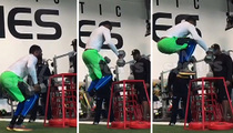 College Football Beast -- Shawn Oakman's Insane Box Jump ... With 70 Pound Dumbbells!