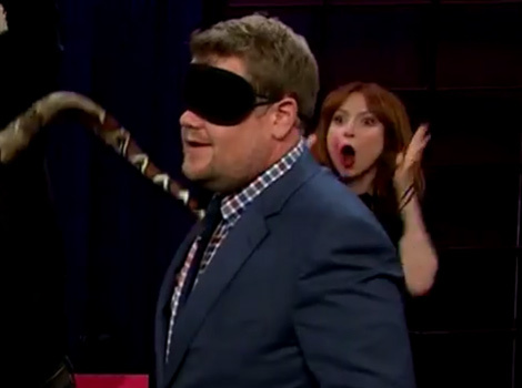 James Corden, Nick Offerman and Ellie Kemper 'Nuzzle' a Snake, Sumo Wrestler…