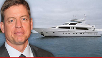 Troy Aikman -- Charters $10 MILLION Yacht ... To Branson's Private Island