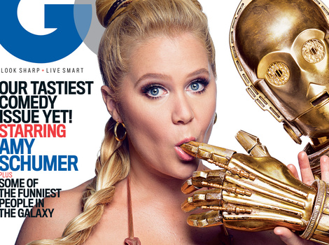 Amy Schumer Transforms Into Princess Leia, Goes Topless for R2-D2, C-3PO Threesome