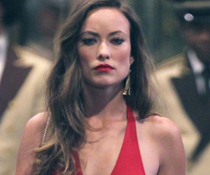 Olivia Wilde Looks Ravishing in Red on Set of HBO's 'Rock 'N'...